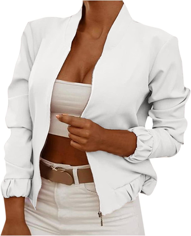 KUDICO Women's Stand Collar Zip up Long Sleeve Jacket Casual Slim Fit Lightweight Outwear Solid Biker Bomber Jacket