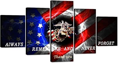5 Panels USMC Marine Corps US USA American Flag Canvas Painting Military Wall Art Picture..
