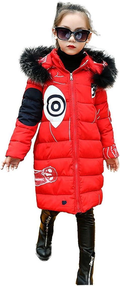 Dream-Store Girl's Down Jacket Hooded Winter Warm Outwear Thicker Down Jacket