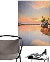 Wall Stickers Nautical Vessel on Coast Long Exposure Dramatic Sunset Photo Solitude Lonely Twilight Theme Blue Peach Creative Self-Adhesive W8 x H10