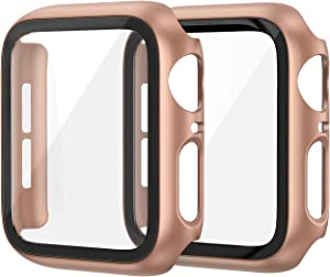 EDIMENS 2 Pack Hard PC Case Compatible with Apple Watch Series 6 / SE / 5 / 4 44mm Women Men, Overall PC Case Slim Tempered Glass Screen Protector Protective Cover for Apple iWatch 44mm SE Rose Gold