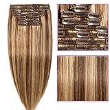 Clip in Extensions Set 100% Remy Echthaar 8 Teilig Haarverlängerung dick Dopplet Tressen Clip-In Hair Extension (60cm-170g,#4/27 Mittel braun/Dunkelblond)