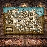 Skyrim The Elder Scrolls Mapa del juego Carteles e impresiones Arte de la pared Imagen decorativa Lienzo Pintura para sala de estar Decoración del hogar/60x90cm-Sin marco