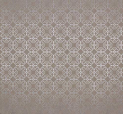 Tapete Ornamental Greige Klassisch Romantisch Shabby Chic für Schlafzimmer Wohnzimmer oder Küche 10,05m x 0,53m Made in Germany
