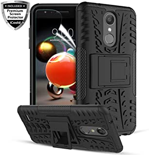 iCoold LG K30 Phone Cases,LG K10 2018 Case,LG Phoenix Plus/LG K10 Alpha/LG Harmony 2/Premier Pro LTE/LG CV3 Prime,W/Screen Protector Rugged Kickstand Dual Layer Shockproof Protective Phone Cover,Black