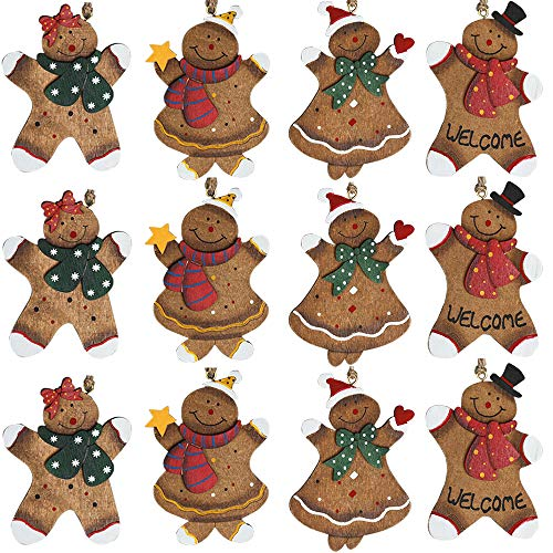 Partybus Christmas Tree Ornaments 12 Pack, Small Handmade Gingerbread Man Wood Slices with Burlap Hanging String for Outdoor Holiday Home Decorations, Bulk Country Rustic Unfinished Gift Name Tags
