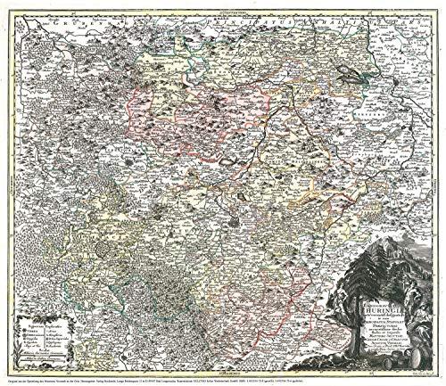 Historische Karte: Land Thüringen 1740 (Plano)