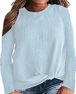 Women's Autumn Long Sleeve Tops Knit Tunic Tops Casual T-Shirt Twist Knot Top