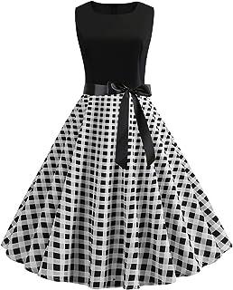 TIFIY Vestiti Donna Elegante Cerimonia Mini Abito da Donna con Stampa a Quadri o Maniche Scozzesi Abito da Festa Vintage r...