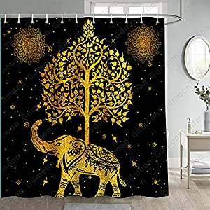 Gdmoon Golden Vintage Elephant Shower Curtain Paisely Tree of Life Family African Wild Animals Boho Mandala Indian Flower Plants Stars Colorful Bathroom Curtain Set with 12 Hooks 72 x 72In YLWHGD775