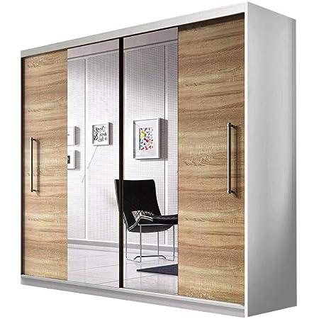 E-MEUBLES Armoire de Chambre avec 2 Portes coulissantes | Penderie (Tringle) avec étagères (LxHxP): 204x218x58 Nico avec Miroir (Blanc+ Sonoma+ Miroir)