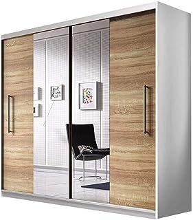 E-MEUBLES Armoire de Chambre avec 2 Portes coulissantes | Penderie (Tringle) avec étagères (LxHxP): 204x218x58 Nico avec M...