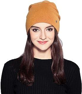 MOOKZZ Winter Knit Beanie Women Slouchy Hat, Double Layer Thick Wool Fleece Skull Ski Cap, Men Trapper Fur Hats