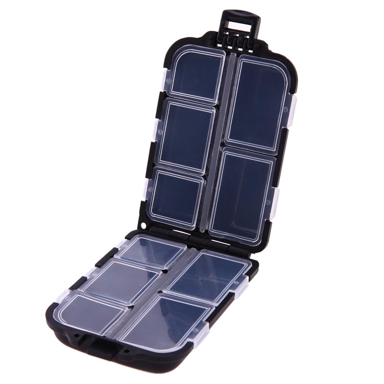 SODIAL 10格実用性のある釣りタックルボックスルアーフック硬質プラスチック釣具、ブラック
