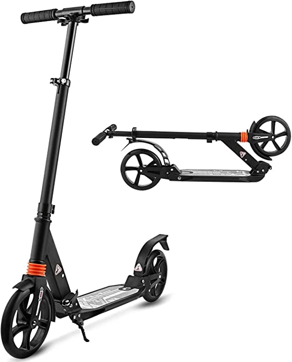 Kick Scooter with Adjustable Height Dual Suspension and Shoulder Strap & Big Wheels