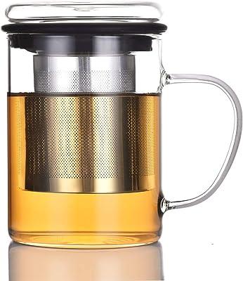 耐熱ガラスマグカップ 400ml 高品質で丈夫なステンレス鋼茶こし 透明なガラスふた 付き 持ちやすい (黒, 400ML)