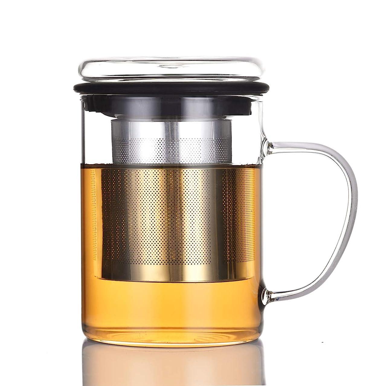 りんごなぞらえる通信する耐熱ガラスマグカップ 400ml 高品質で丈夫なステンレス鋼茶こし 透明なガラスふた 付き 持ちやすい (黒, 400ML)
