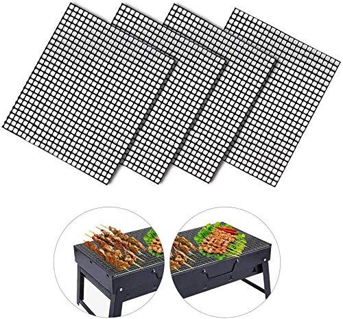 FANLIU 4 PCS Nonstick BBQ Grill Mat Baking Grilling Tabletts Wiederverwendbare Hitzebeständige BBQ Teflon Grill Matten for Gas, Elektro-Grill-Party Mesh-Camping-Werkzeug (rechteckig)