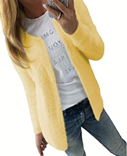 Womens Sexy Slim Fit Solid Color Long Sleeve Open Front Shaggy Short Cardigan Coats
