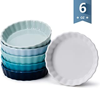 Sweese 509.003 Porcelain Round Ramekins for Baking, 6 Ounce Creme Brulee Dish, Set of 6, Cool Assorted Color