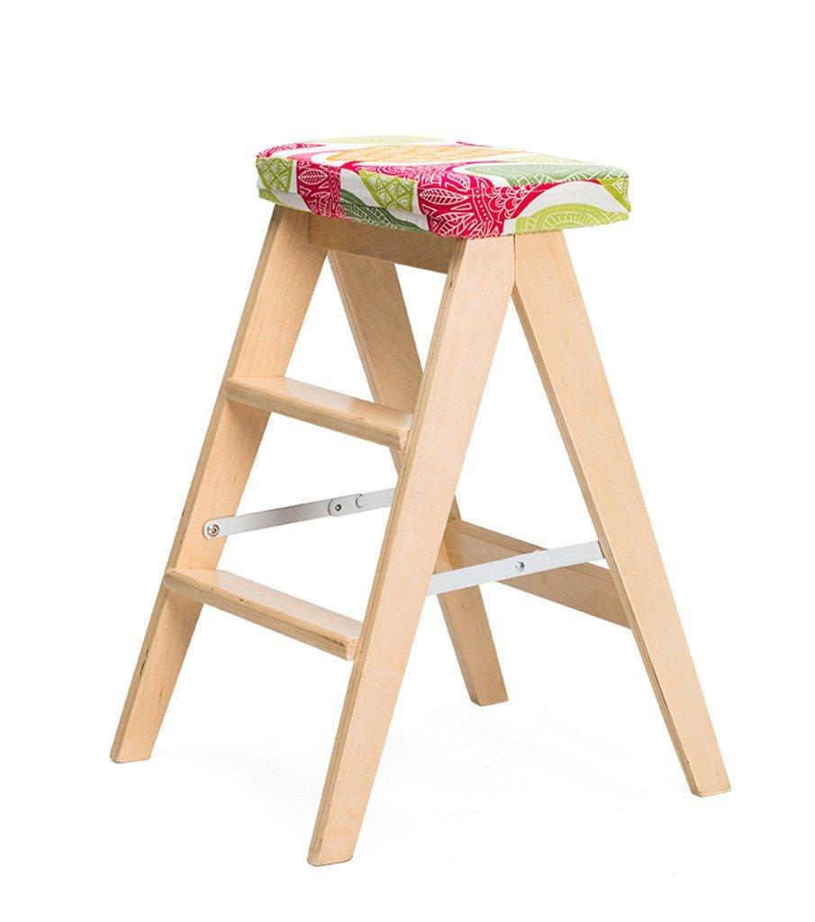 HIGHKAS Escalera de Taburete Plegable con cojín DualUse Escalera de 3 Pasos, Abedul, 3 Estilos (Color: Color Madera, tamaño: 1#): Amazon.es: Hogar