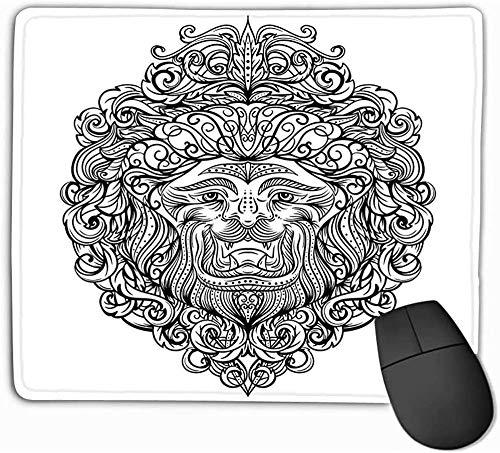 N/A muismat, standaard grootte muismat leeuw hoofd abstract ornament vintage art design kaart print ansichtkaart poster zwart wit hand getekend 25 * 30 cm