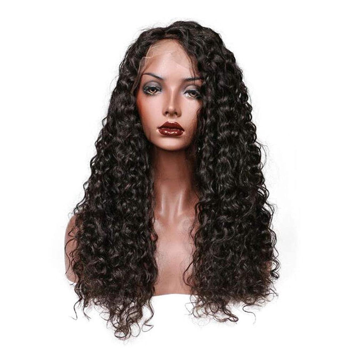 入手します感じディレクターレースフロントかつらディープカーリー人間の髪の毛130%密度天然バージンヘア、黒人女性用事前摘み取った未処理のバージン人毛ウィッグ,14inch
