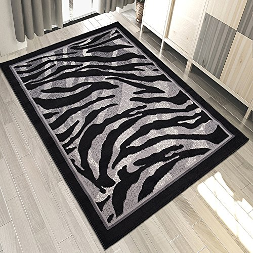 Carpeto Designer Teppich Zebra Tierfell Muster Meliert In Schwarz Grau - ÖKO TEX (80 x 150 cm)