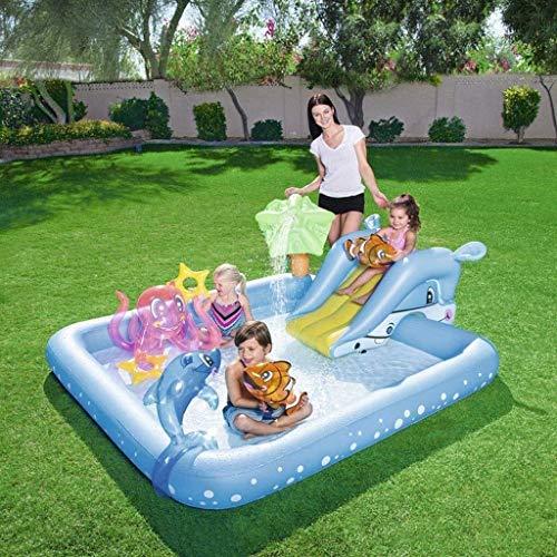 Cakunmik Piscina Inflable para niños con Diapositiva, Piscina Plegable, aspersión doméstica Baby Pool Pool Pool Pool, Piscina de vadeo, Juguetes de Agua Inflable