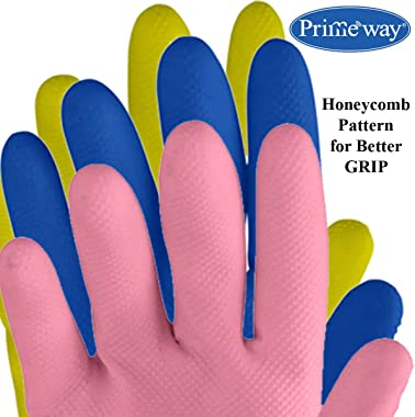 Primeway Natural Rubber Medium Flock Lined Hand Gloves, 3 Pairs, Multicolor