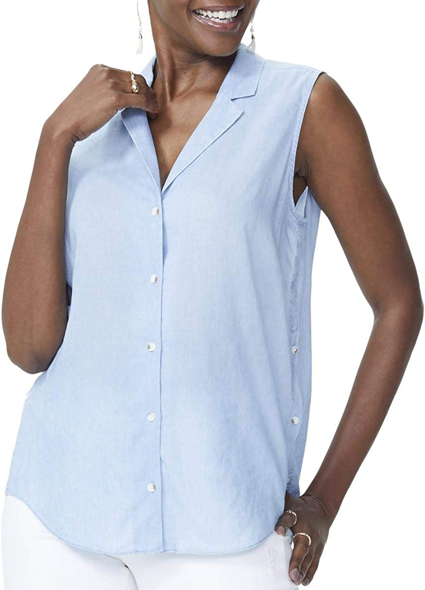 NYDJ Women's Sleeveless shop Detail Top Easy-to-use Button