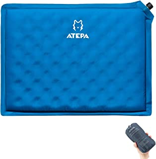 ATEPA Self-inflating Stadium Seat Cushion, Outdoor Portable Inflatable Seat Padwith Carrying Bag, for Hard Bench, Sports, Camping, Air Plane Ride, Traveling,2.75 oz, Blue