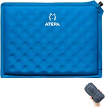 ATEPA Self-inflating Stadium Seat Cushion, Outdoor Portable Inflatable Seat Pad with Carrying Bag, for Hard Bench, Sports, Camping, Air Plane Ride, Traveling,2.75 oz, Blue