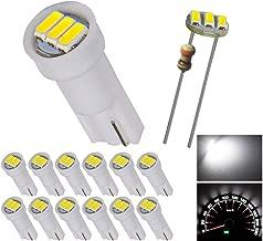 12pcs T5 74 Wedge 3-SMD LED Lights Instrument Panel Indicator Bulb Gauge Cluster Lamps White