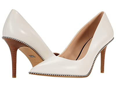 COACH 85 mm Waverly Pump with Beadchain (Chalk Smooth Leather) Women