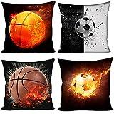 Coloranimal Motif 3d Soccer Ball Couvre-lit Taie d'oreiller pour canapé Canapé Chambre à coucher Bureau 45,7x 45,7cm Coque, Basketball Soccer, 18inchx18inch