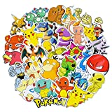 Pikachu Stickers for Water Bottles [50pcs], Pokémon Animal Cartoon Sticker for Laptop Bike Car Guitar Motorcycle Bumper Luggage Skateboard Graffiti, Cute Anime Monsters Decals, Best Gift for Kids Teen