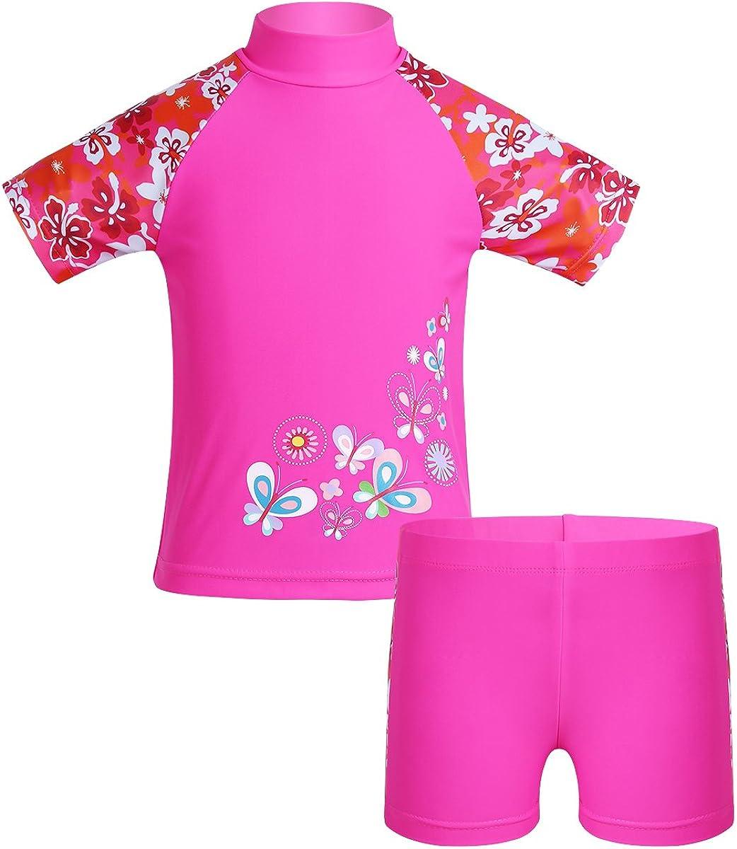 CHICTRY Girls' Floral Print 2-Piece Short Guard Rash Sleeve Tank Cheap SALE Start Weekly update