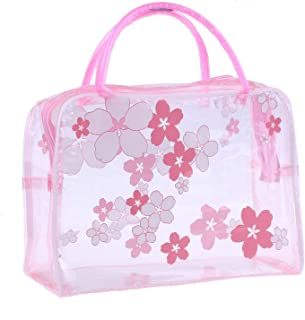 Clear Cosmetic Bag Flower Waterproof Plastic Zipper Bags Portable Travel Toiletry Organizer with Handle