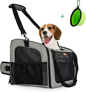 MARKSIGN Pet Booster Seat with Built-in Tether and Removable Plush Liner, Pet Carrier, Holds Small Dogs up to 20lbs. Free Collapsible Pet Bowl Included