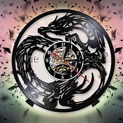 UIOLK Retro creativity Dragon vinyl record silent wall clock ancient mythology animal clock Chinese fantasy wall clock home decoration