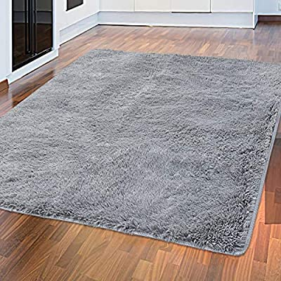 Tinzzi 5.3 ft x 7.5 ft Soft Fluffy Area Rug, Modern Shaggy Bedroom Rugs for Bedroom Bedside Living Room Carpet Nursery Floor Mat, Grey