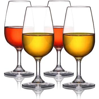 MICHLEY 230ml Verres à Vin, Incassable Tritan Plastique Buvant Gobelets, sans BPA ni EA, Lavable au Lave Vaisselle, Ensemble de 4