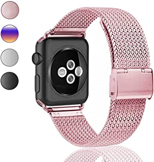 ZXFYE Compatible with Apple Watch Band 38MM 42MM 40MM 44MM,Stainless Steel Mesh Breathable Wristband Loop Replacement Parts for iWatch Series 5 4 3 2 1 (Rose Gold, 38mm/40mm)