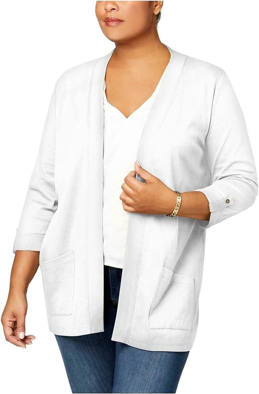 Karen Scott Womens Plus Cuffed 3/4 Sleeves Cardigan Top