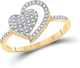 FB JEWELS 10kt Yellow Gold Womens Round Diamond Heart Ring 1/5 Cttw Size 7