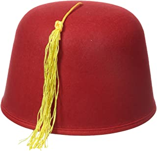 Men's Adult Red Fez with Gold Tassel (5 Inch Tall)