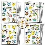 Geenber Cadeaux de fête pour Enfants, Tatouages temporaires Pikachu Pokemon pour Enfants Fournitures de décorations de fête d'anniversaire Pokemon (20 Feuilles, Plus de 300 Styles)