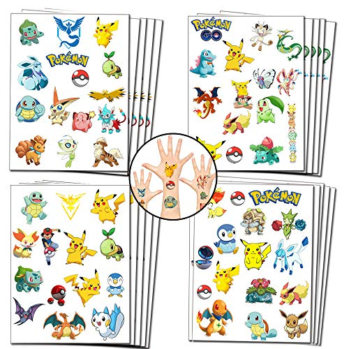 Geenber Party Favors Gifts for Kids, Pikachu Temporary Tattoos for Kids Pikachu Birthday Party Decorations supplies (20 Sheets, more than 300 styles)