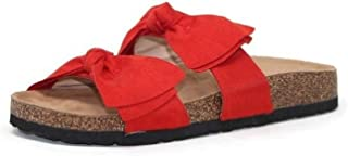 Mata Shoes Women Fashion Slide Sandals Soft Cork Footbed Slip On Bow Slides